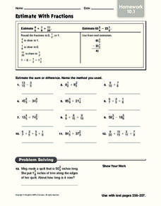 Estimate With Fractions: Homework Worksheet