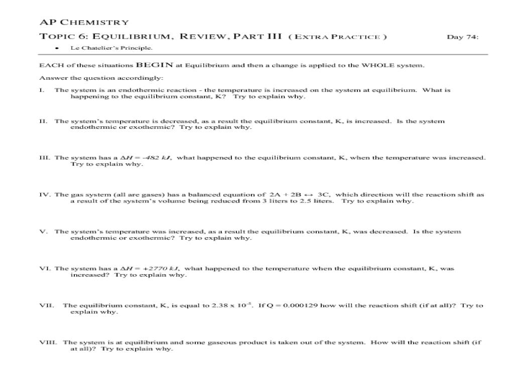 equilibrium constant worksheet Termolak – Equilibrium Constant Worksheet