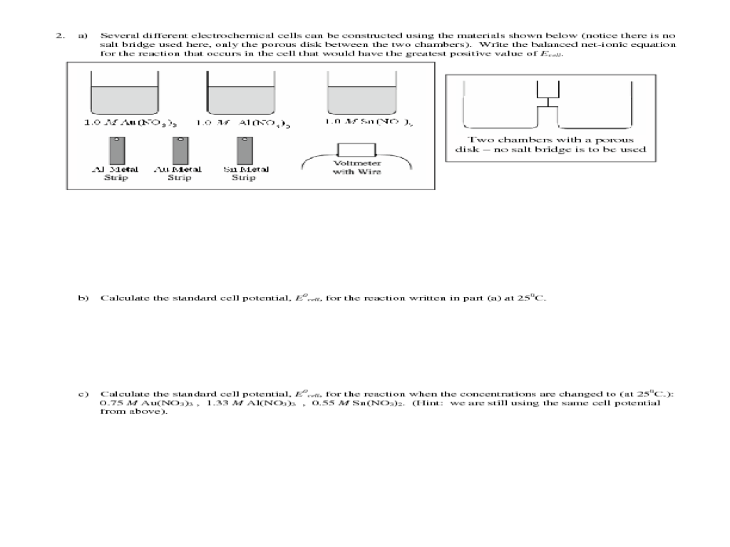 AP Chemistry Topic 11: Electrochemistry, Examples Worksheet for 10th