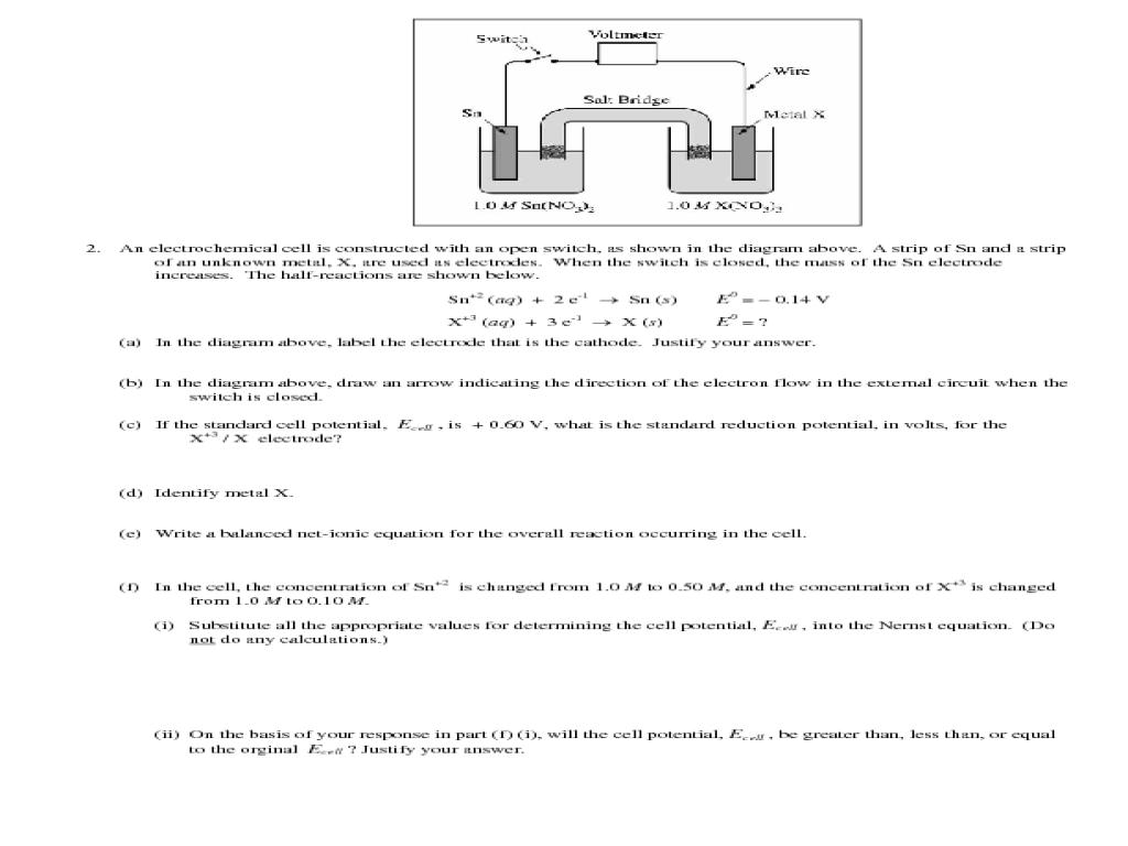 {electrochemistry worksheet Termolak – Electrochemistry Worksheet