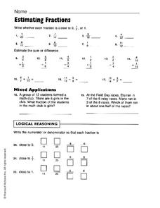 Estimating Fractions Worksheet