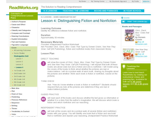 Distinguishing Fiction and Non Fiction Lesson Plan