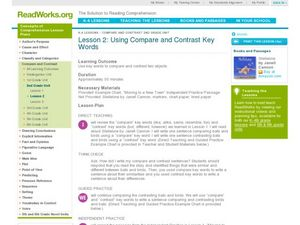 Using Compare and Contrast Key Words Lesson Plan