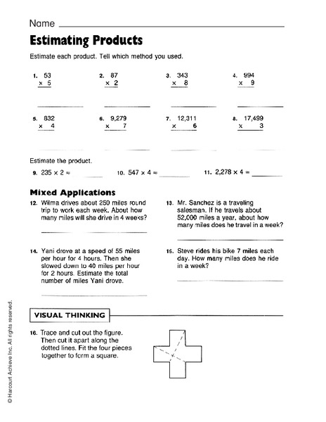 Estimating Products Worksheet for 4th   6th Grade   Lesson ...