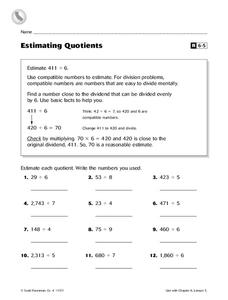 Estimating Quotients Worksheet