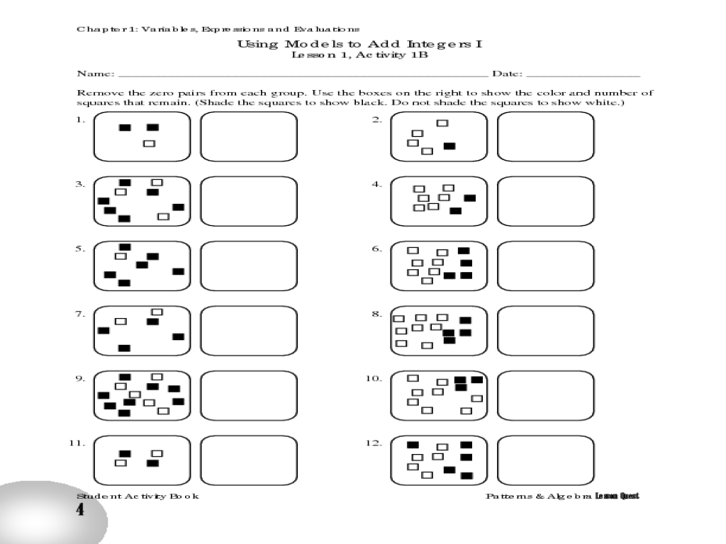 Using Models to Add Integers I Worksheet for 6th - 8th Grade ...