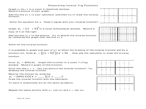 Discovering Inverse Trig Functions Worksheet