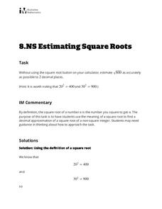 Estimating Square Roots Lesson Plans & Worksheets