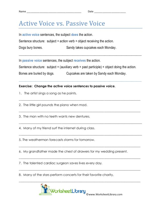 Active Voice vs Passive Voice 6th 8th Grade Worksheet – Active Vs Passive Voice Worksheet