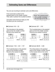 Estimating Sums and Differences Worksheet for 4th - 5th ...