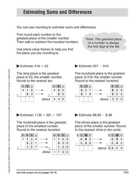 Estimating Sums and Differences Worksheet