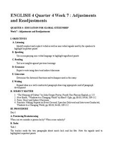 Adjustments and Readjustments:  Education for Global Citizenship Lesson Plan