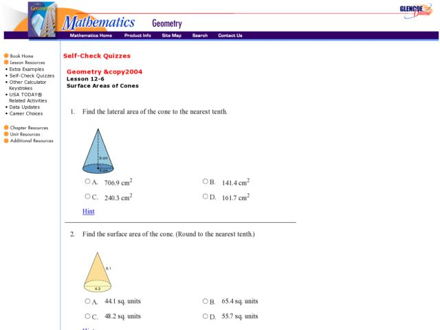 Glencoe - Surface Area of Cones Worksheet