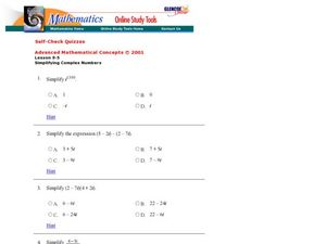 Glencoe - Imaginary Numbers and Expressions Worksheet for 9th - 12th ...