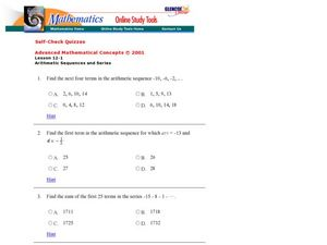 Sum Of Arithmetic Sequence Lesson Plans Worksheets