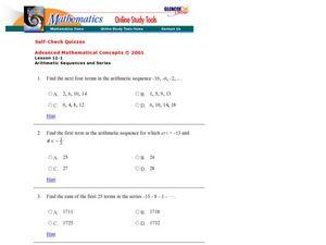 Glencoe - Arithmetic Sequences and Series 2 9th - 12th Grade ...