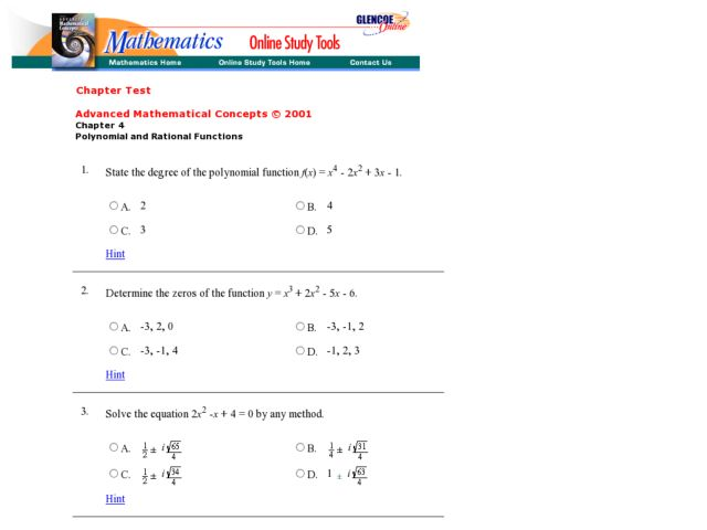 Polynomial Functions Lesson Plans Worksheets Lesson Planet