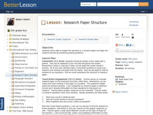 Research Paper Structure Lesson Plan