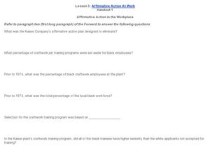 Affirmative Action at Work Worksheet
