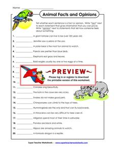 Animal Facts and Opinions Worksheet