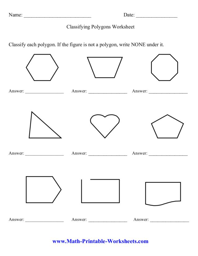 Classifying Polygons Worksheet Worksheet For 3rd 6th