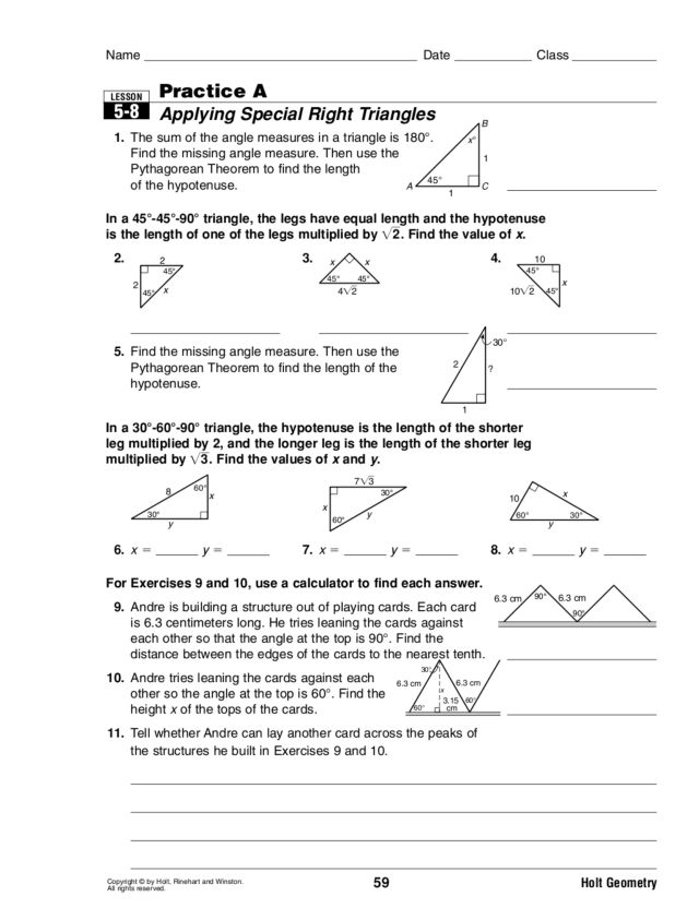 Applying Special Right Triangles 10th Grade Lesson Plan – Special Right Triangles Worksheet 30-60-90 Answers