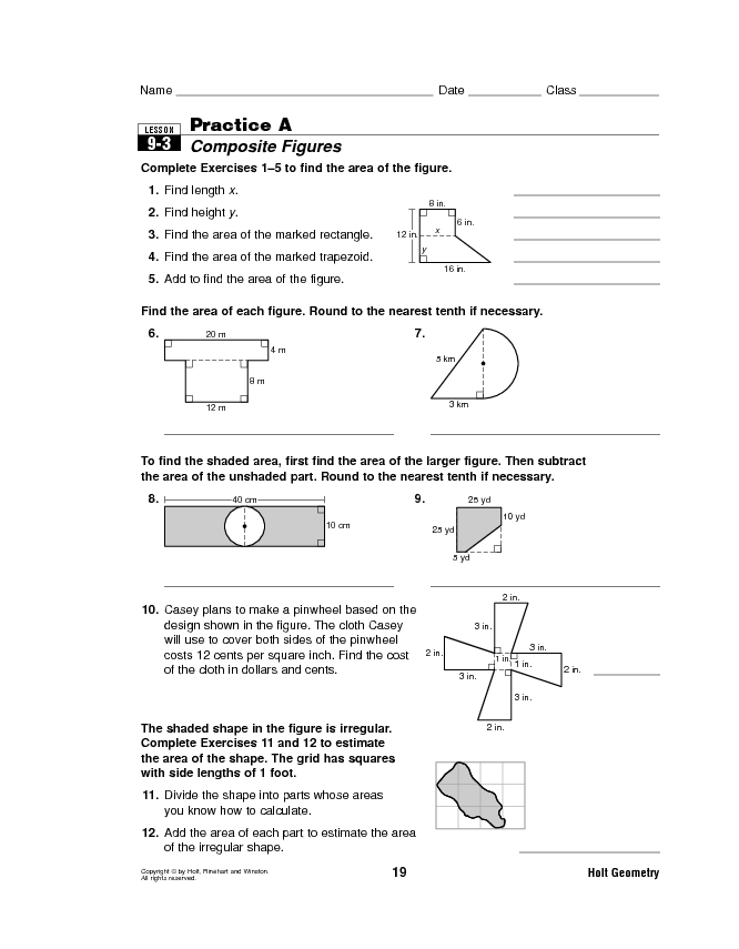 Lesson 9-3 Practice A: Composite Figures Lesson Plan