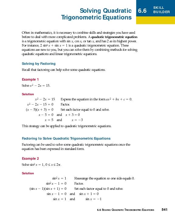 Solving Quadratic Trigonometric Equations 10th 12th Grade – Solving Trig Equations Worksheet