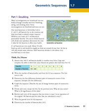 Geometric Sequences - Bacterial Growth Worksheet
