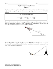 Applied Trigonometry Problems Worksheet for 9th - 12th Grade