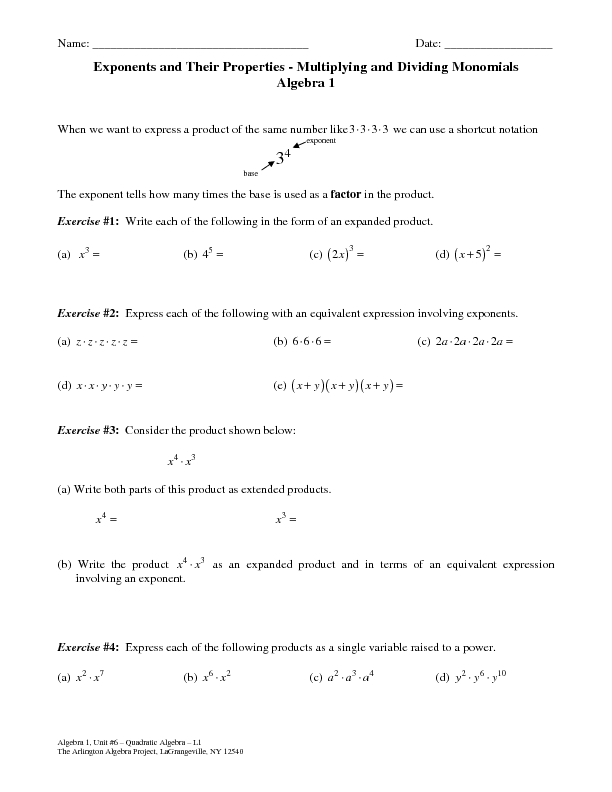 Exponents and Their Properties Multiplying and Dividing – Multiply and Divide Monomials Worksheet