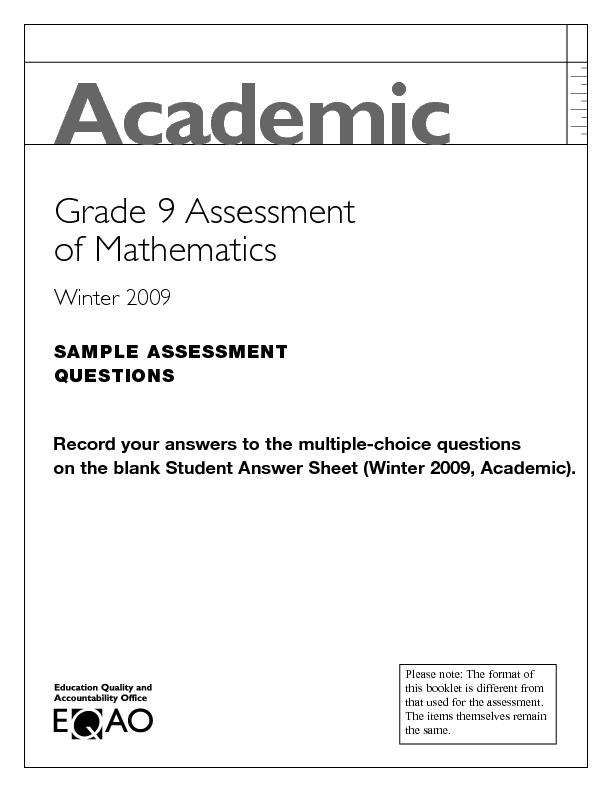 Academic Grade 9 Assessment of Mathematics: Algebra I and ...