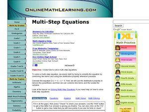 Multi-Step Equations - Online Math Learning Worksheet