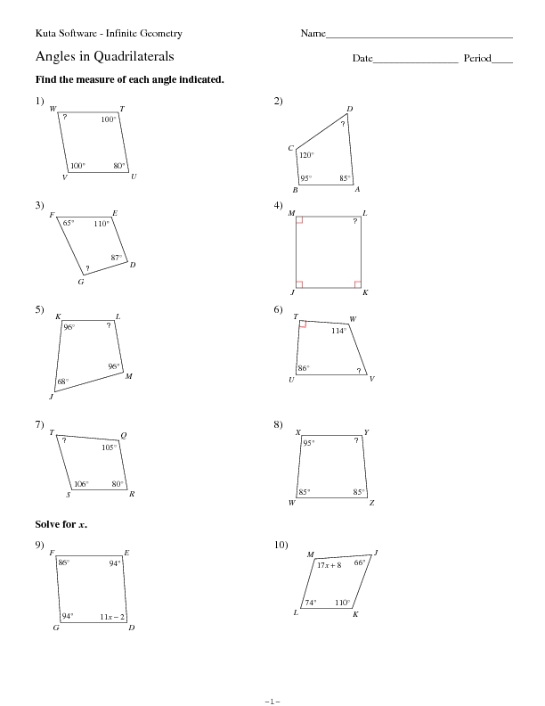 Kuta Software Angles In Quadrilaterals Worksheet For 9th