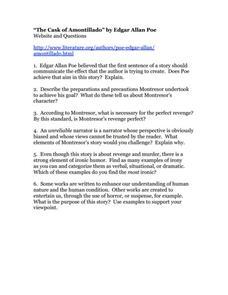 worksheet: The Cask Of Amontillado Worksheets Download Motif ...