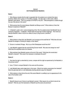 macbeth act ii comprehension questions worksheet for 9th higher ed rh lessonplanet com macbeth act 2 guided questions Romeo and Juliet Act 2 Scene 2