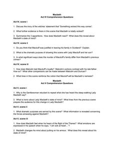 Macbeth Act Iv Comprehension Questions Worksheet For 9th 12th