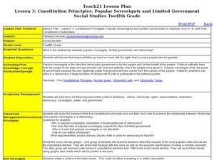 Lesson 3: Constitution Principles: Popular Sovereignty and Limited Government Lesson Plan