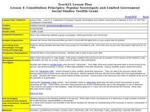 Lesson 4: Constitution Principles: Popular Sovereignty and Limited Government Lesson Plan