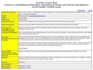 Lesson 6: Constitutional Principles: Separation of Powers and Checks and Balances Lesson Plan