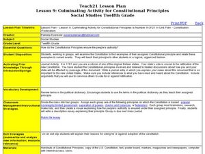 Lesson 9: Culminating Activity for Constitutional Principles Lesson Plan