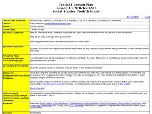 Lesson 13: Constitution/Federalism  Lesson Plan