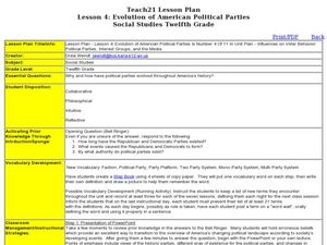 Lesson Four: Evolution of American Political Parties Lesson Plan