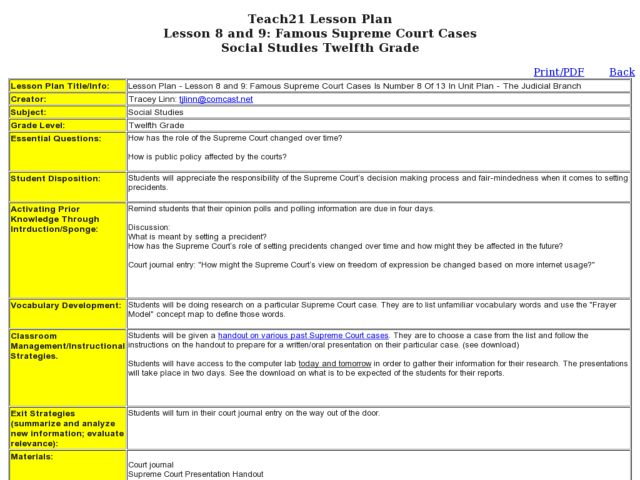 Lesson 8 and 9 Famous Supreme Court Cases 12th Grade Lesson Plan – Landmark Supreme Court Cases Worksheet