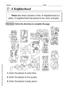A Neighborhood Worksheet for Kindergarten - 2nd Grade | Lesson Planet