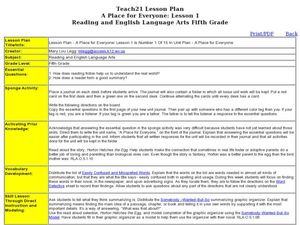 A Place for Everyone: Lesson 1 Lesson Plan
