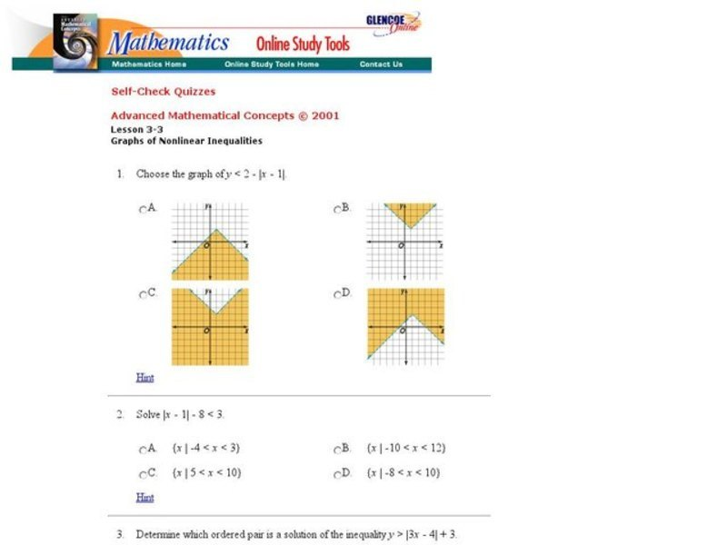 Graphs of Non-Linear Inequalities Interactive