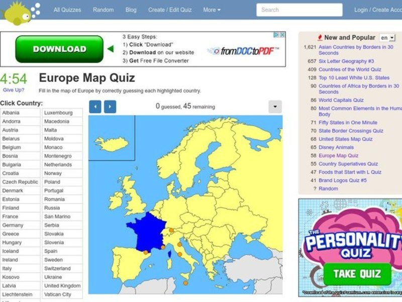 Europe Map Quiz Interactive for 6th - 11th Grade | Lesson Planet