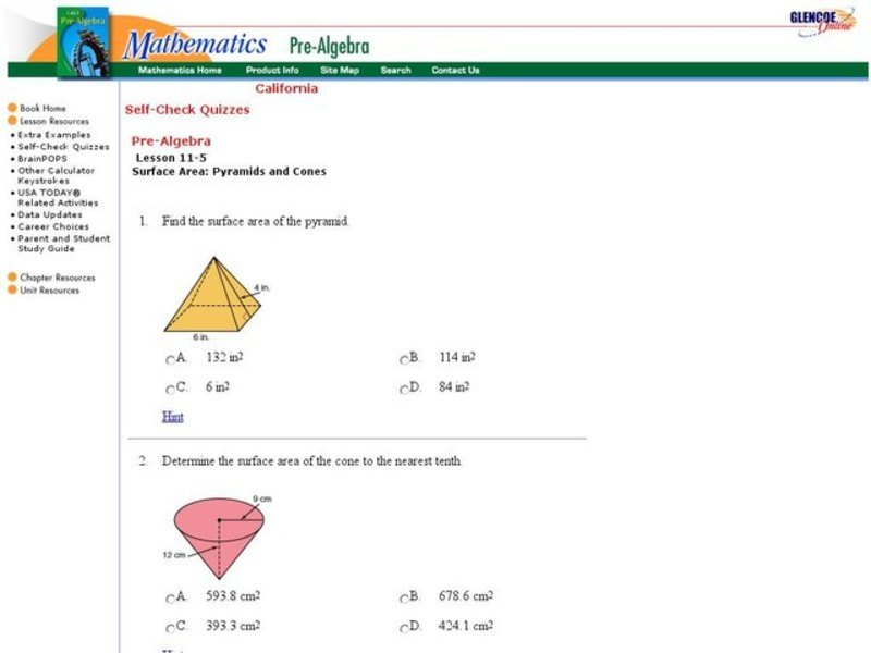 Surface Area of Cones and Pyramids Interactive