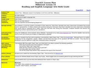 Milkweed: Lesson 14 Lesson Plan for 6th Grade | Lesson Planet